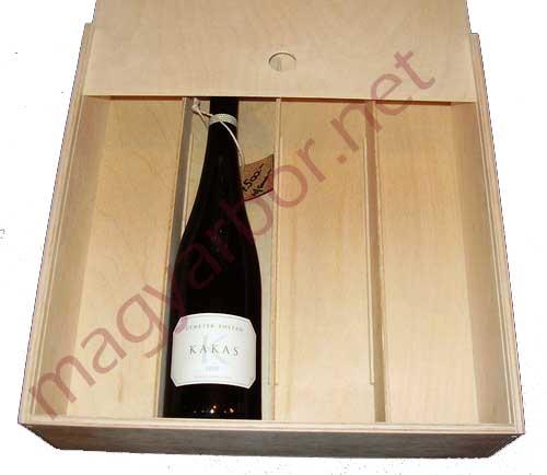 Tolótetös zárt bortartó fadoboz 4 bornak