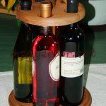 Kerek asztali fa bortartó 5 palacknak