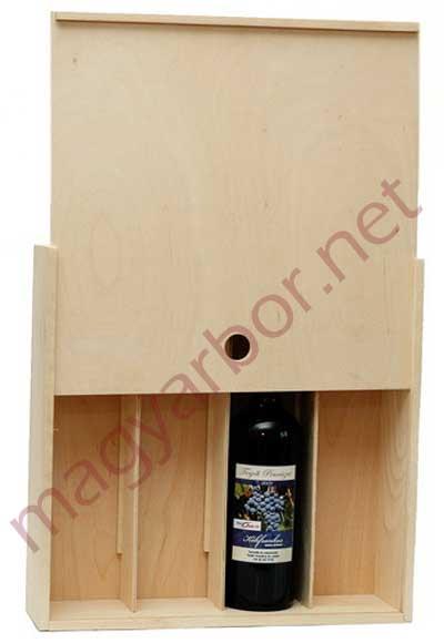 Tolótetös zárt bortartó fadoboz 4-es INGYENES Szállítással