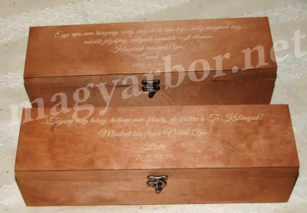 Dió Színű Elegant Boros Fadoboz 1 Palacknak Gravírozással is
