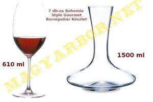 Borospohár Készlet 1+6 db-os Bohemia Gourmet Dekantáló Készlet Díszdobozban