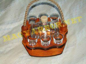 Kötélfüles Pálinkás Készlet Üveghordóval